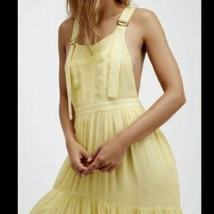 NWT Free People Yellow Overall Maxi Dress US Large